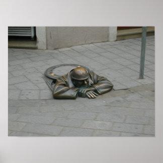 Man in Oil Bratislava Print