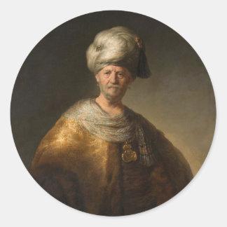 Man in Oriental Costume, by Rembrandt van Rijn Classic Round Sticker