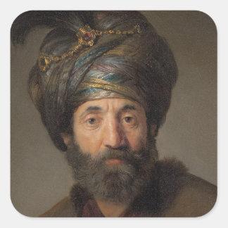Man in Oriental Costume, c.1635 (oil on canvas) Square Sticker