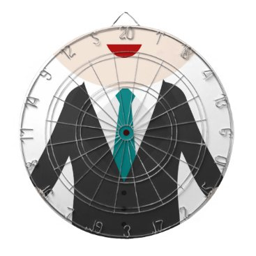 Man in Suit Dartboard With Darts