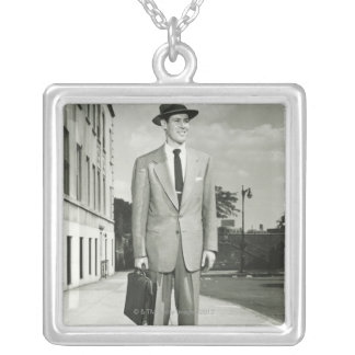 Man in Suit Square Pendant Necklace