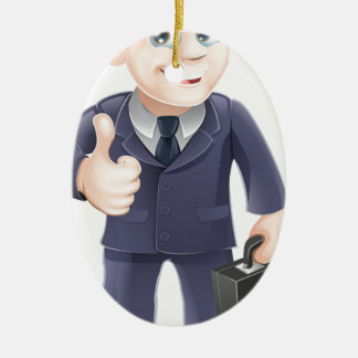 Man in suit thumbs up drawing ceramic oval decoration