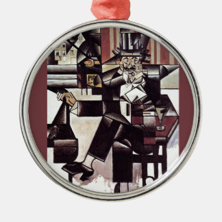 Man in the Cafe~1912 Analytical Cubism ~ Juan Gris Round Metal Christmas Ornament