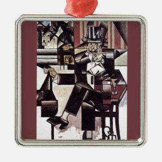 Man in the Cafe~1912 Analytical Cubism ~ Juan Gris Square Metal Christmas Ornament