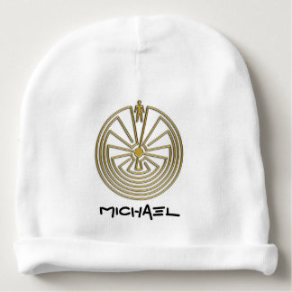 MAN IN THE MAZE gold + your background Baby Beanie