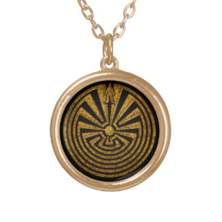 Man in the Maze, Journey through life, I'itoi, Gold Plated Necklace
