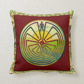 MAN IN THE MAZE landscape & native frame Throw Pillow