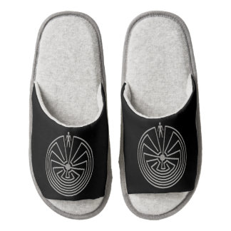 MAN IN THE MAZE silver + your background Pair Of Open Toe Slippers
