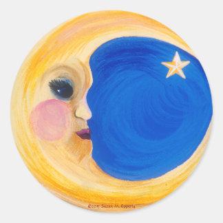 "Man in the Moon and Star ""La Luna"" Classic Round Sticker"