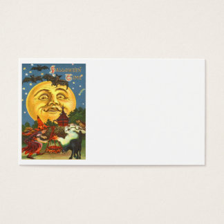 Man In The Moon Black Cat Witch Bat Full Moon Business Card