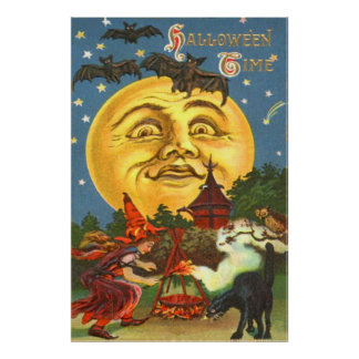 Man In The Moon Black Cat Witch Bat Full Moon Owl Poster
