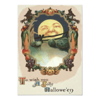 Man In The Moon Jack O Lantern Witch Card