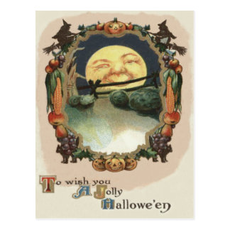 Man In The Moon Jack O Lantern Witch Postcard