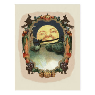 Man In The Moon Jack O Lantern Witch Postcard