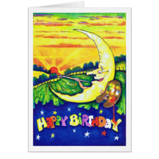 Man in the Moon Painting Birthday Card