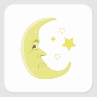 Man In The Moon Square Sticker