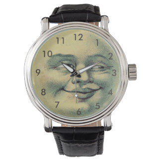 Man in the Moon Watch-Vintage Leather Black Strap Wristwatches