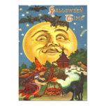 Man In The Moon Witch Black Cat Bat Stars Card