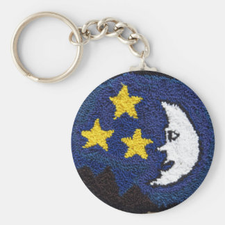 Man in The Moon With Stars Basic Round Button Keychain