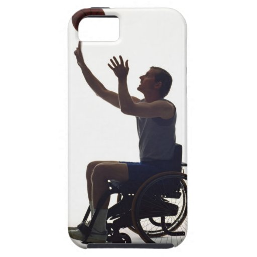 Man in wheelchair playing with basketball iPhone 5 cover