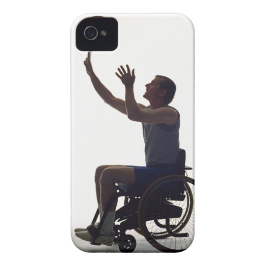 Man in wheelchair playing with basketball iPhone 4 case