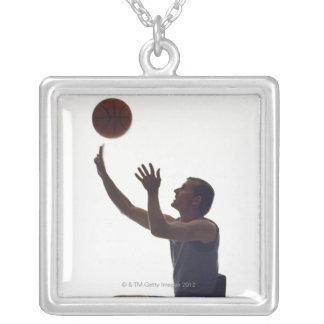 Man in wheelchair playing with basketball square pendant necklace