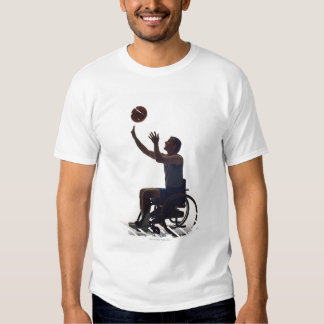 Man in wheelchair playing with basketball t-shirt