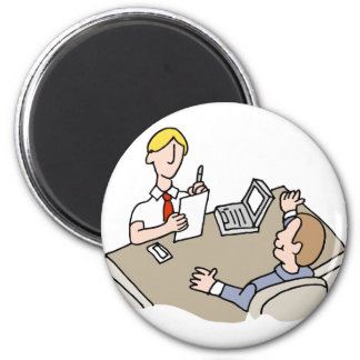 Man interviewing another man 2 inch round magnet