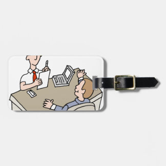 Man interviewing another man bag tag
