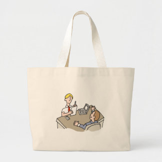 Man interviewing another man large tote bag