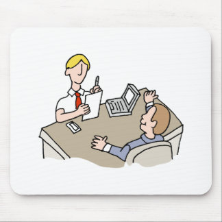 Man interviewing another man mouse pad