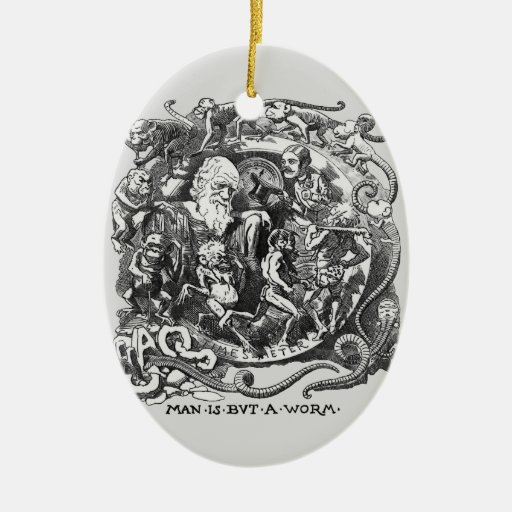 Man Is But A Worm Double-Sided Oval Ceramic Christmas Ornament
