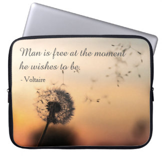 Man is Free Voltaire Quote Laptop Sleeve