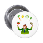Man Juggling Vegetables 2 Inch Round Button