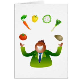 Man Juggling Vegetables Card