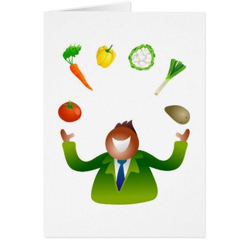 Man Juggling Vegetables Greeting Cards