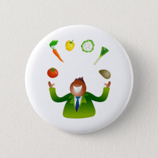 Man Juggling Vegetables Pinback Button