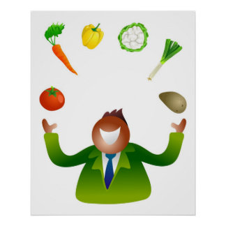 Man Juggling Vegetables Poster