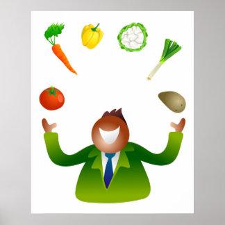 Man Juggling Vegetables Posters