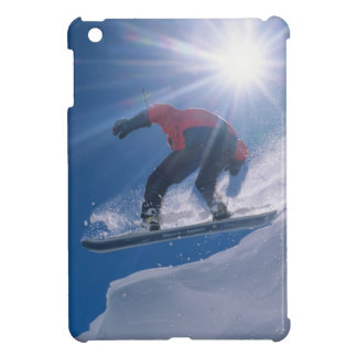 Man jumping off a large cornince on a snowboard iPad mini cases