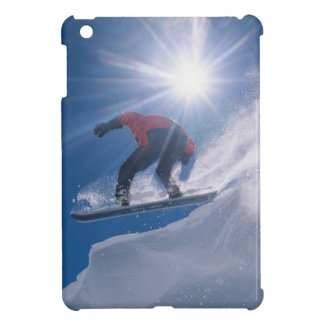 Man jumping off a large cornince on a snowboard iPad mini covers