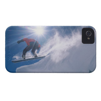 Man jumping off a large cornince on a snowboard iPhone 4 Case-Mate case