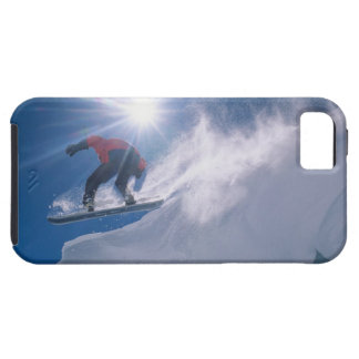 Man jumping off a large cornince on a snowboard iPhone SE/5/5s case