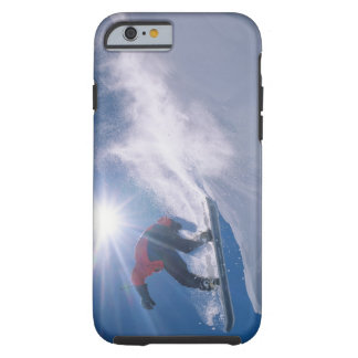 Man jumping off a large cornince on a snowboard tough iPhone 6 case