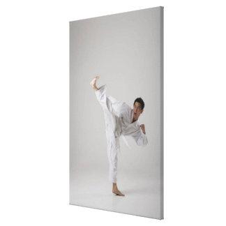 Man kicking high in the air, martial arts canvas print