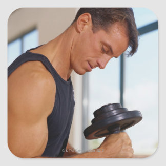 Man Lifting a Dumbbell Square Sticker