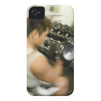Man lifting dumbbell in gym, high angle view, iPhone 4 Case-Mate case