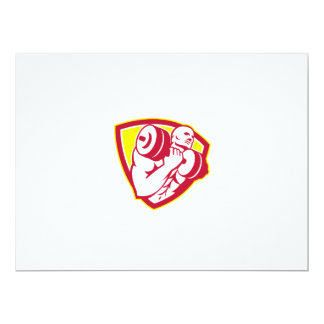 Man Lifting Dumbbell Shield Retro 6.5x8.75 Paper Invitation Card