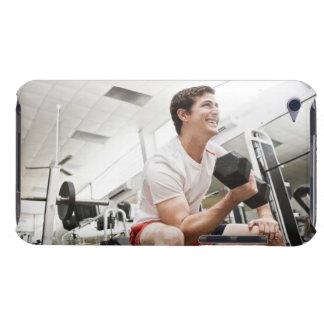 Man lifting dumbbells iPod Case-Mate cases