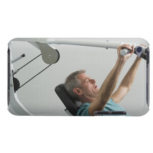 Man lifting weight at gym barely there iPod case
